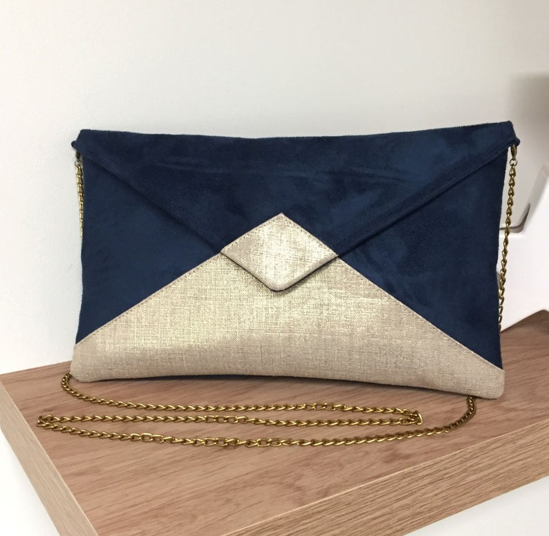 Customizable navy blue and gold wedding bag WITH or WITHOUT image 0