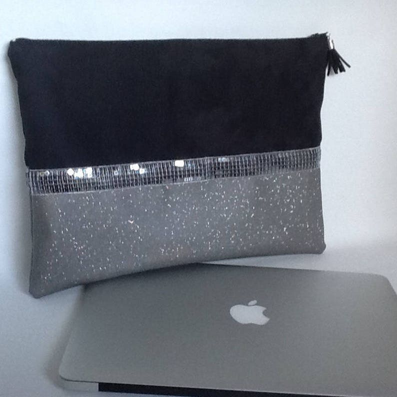 black suede sequins style Vanessa Bruno Custom-made Macbook pouch black and grey imitation leather and sequins  Computer zipped cover