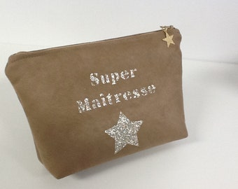 Camel master kit with customizable glittery gold message / suede make-up pouch, tawny gold glitter color