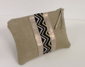 Women's purse, ethnic fabric, beige linen and gold linen / tribal purse in beige and gold linen / ethnic small linen pouch / womens gift