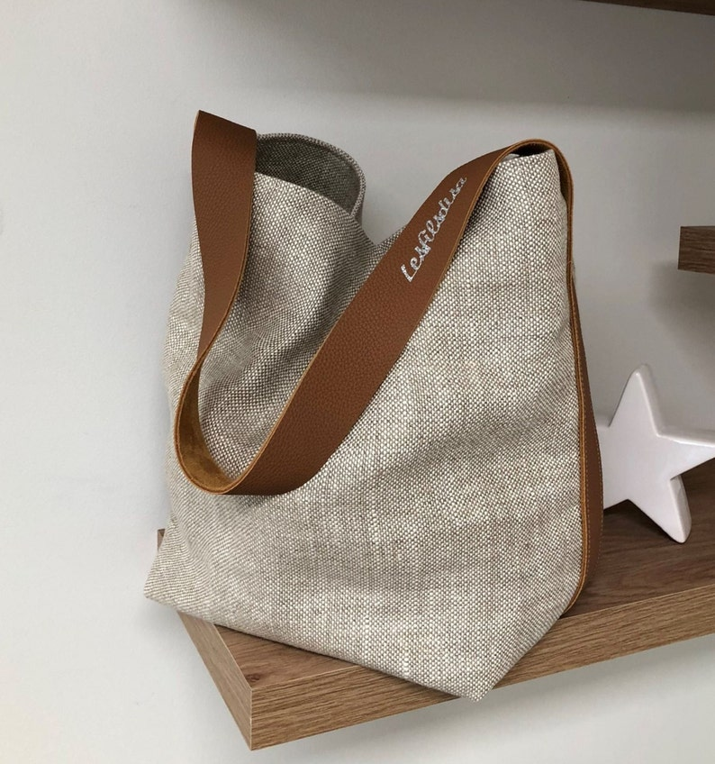 Bucket bag in natural linen fawn handle leather / Tote bag in image 0