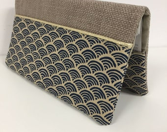 Linen checkbook holder and small wave Japanese fabric / Night blue and beige checkbook case, golden border / Customizable checkbook cover