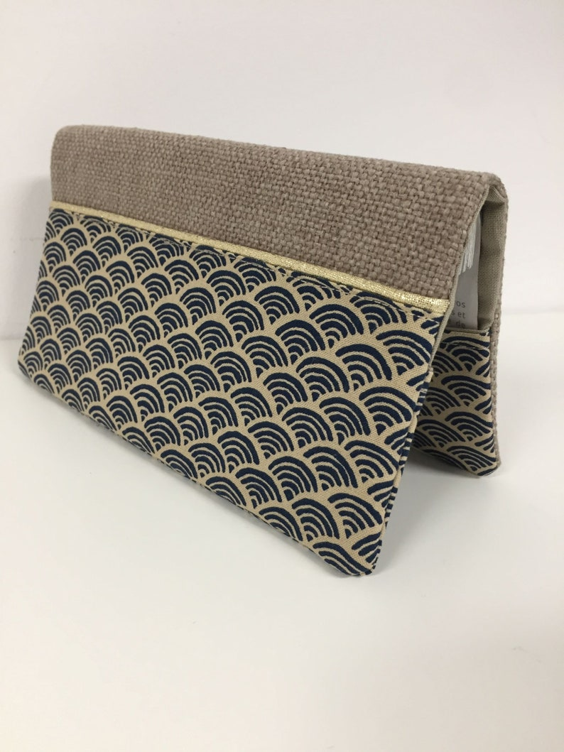 Linen checkbook holder and small wave Japanese fabric / Night image 0
