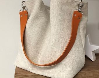 Ivory linen hobo bag with removable orange leather handle / Ecru shoulder bag, sportswear style / Canvas tote bag, large soft leather handle