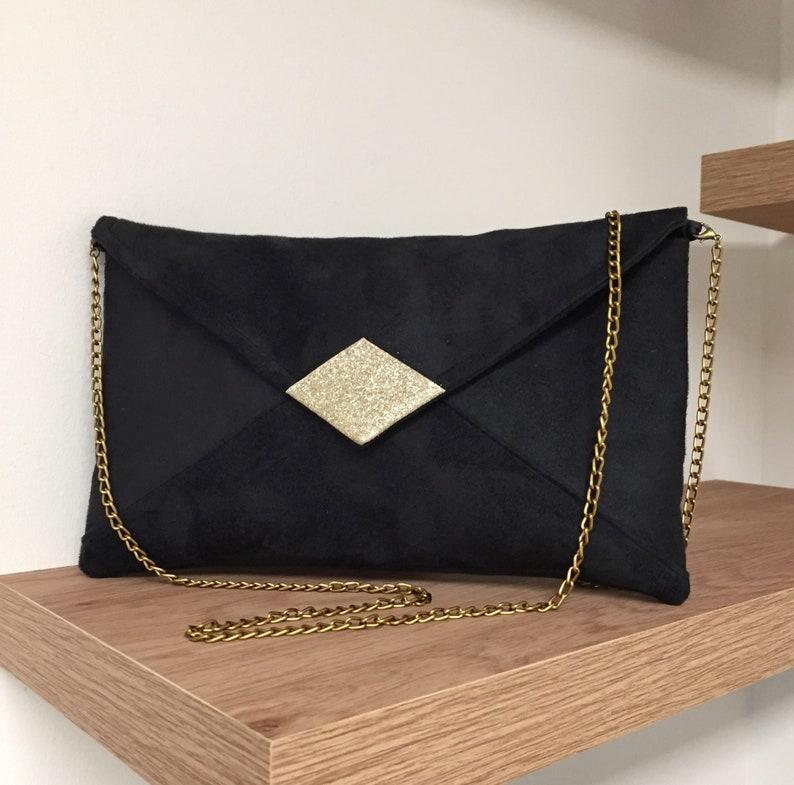 Evening bag in black suedette and gold spangles with shoulder image 0