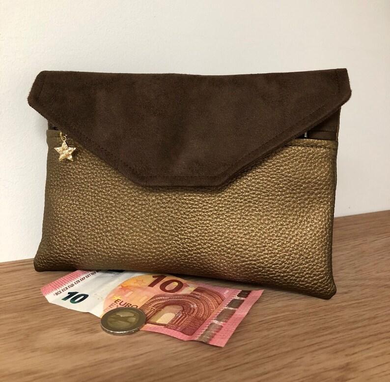 Women's wallet brown suede copper-coloured vegetable image 0