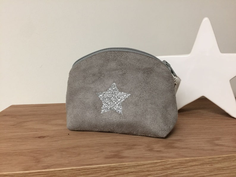 72334d44bad59 Small grey coin purse with sequined star   Small zipped purse