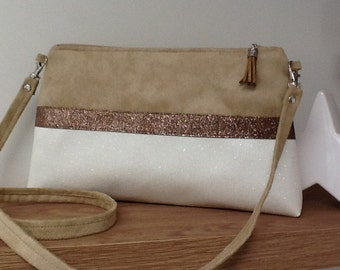 Wedding bag, beige and white, in suede, imitation leather, bronze glitter / shoulder bag, worn on the shoulder or hand, bronze glitter beige