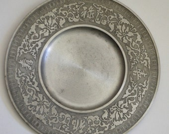 "9/"" Diameter Rare Antique 18th C Hallmark Crowned Rose Pewter Plate"