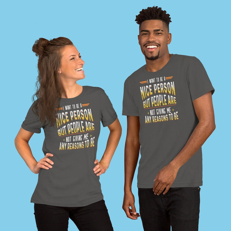 56ffedb3e Funny Humor Novelty Tshirt I Want To Be A Nice Person   Etsy