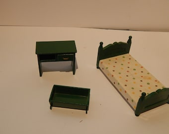 Vintage Calico Critters Sylvanian Retired Bedroom Furniture Green Epoch  1985 Lot Of 3 Pieces