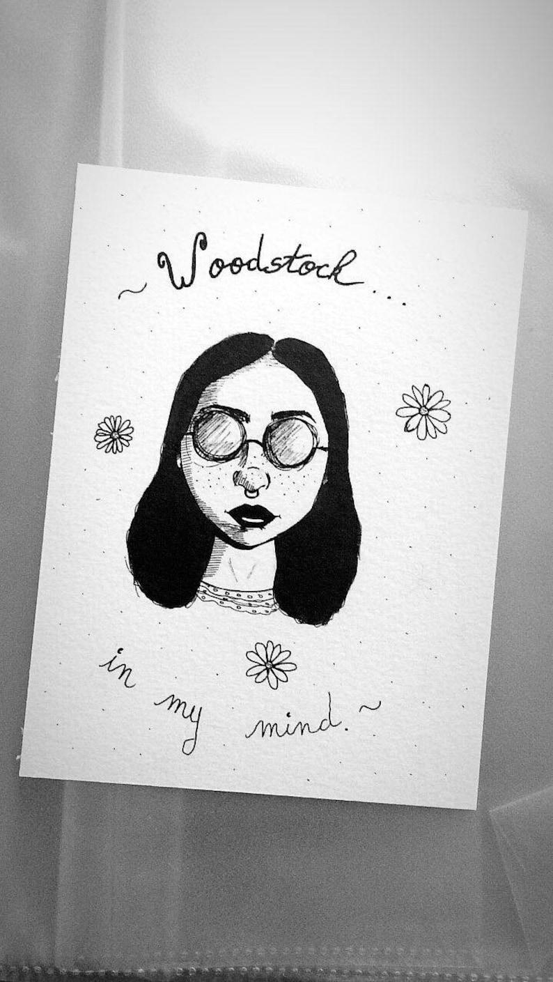 Lana Del Rey Drawing Artwork Woodstock Girl Drawing Ink Etsy