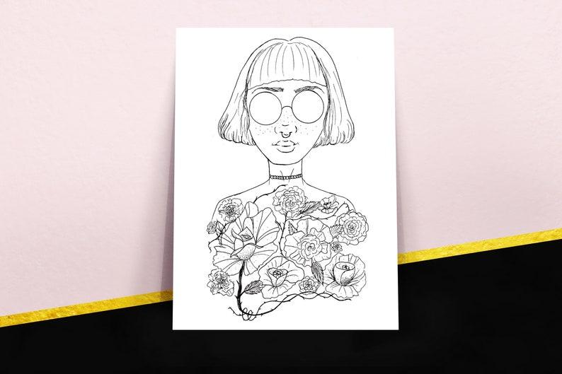 Flower Girl Poster Art Print Woman Portrait Tumblr Power Etsy