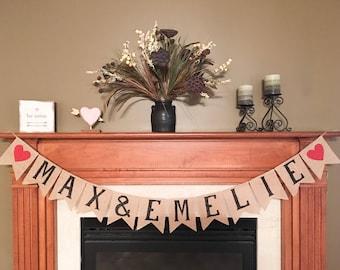 Engagement Party Banner, Bridal Shower Decoration, Bridal Shower Banner, Bride and Groom Sign, Wedding Decor, Engagement Name Banner