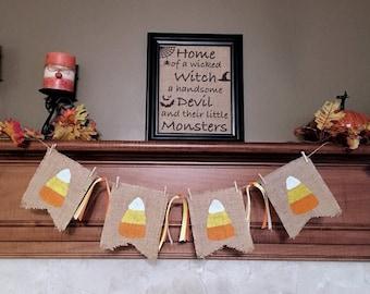 Candy Corn Burlap Bunting, Candy Corn Bunting, Candy Corn Decor, Fall Banner, Fall Burlap Banner, Fall Decor, Halloween banner