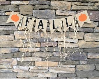 Fall burlap banner, fall banner, fall garland, fall decor, fall burlap garland, fall decoration, burlap fall banner, fall sign, fall bunting