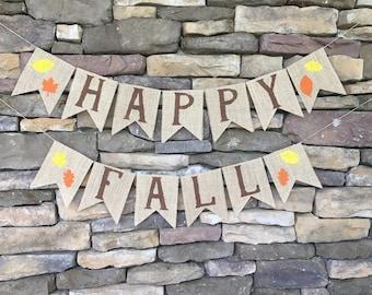 Happy Fall Burlap Banner, Happy Fall Banner, Burlap Banner, Fall Banner, Happy Fall Sign, Fall Decor, Happy Fall Bunting, Fall Garland