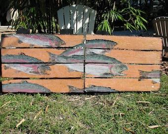 Steelhead Trout mural Original Gyotaku by Jim Roberts