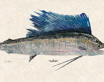 "New Super Size ""Sailfish"" gyotaku print"