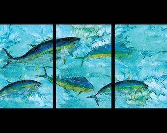 Tuna Mahi Flying Fish 3 piece mural limited edition reproduction