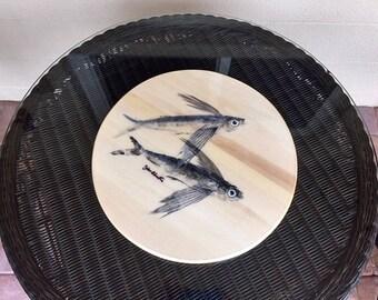 Original Gyotaku Flying Fish Lazy Susan