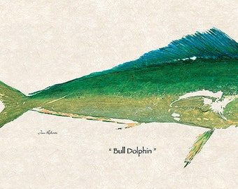 """New Super Size Limited Edition"""" Bull Dolphin """" gyotaku print"""