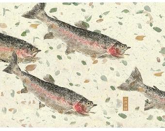 """Limited Edition Reproduction of gyotaku """"Rainbows Run"""" by Jim Roberts"""