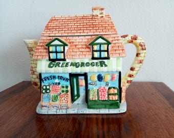 Green Grocers Store Ceramic Teapot - MFG.Inc.