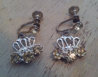 Vintage Screw Back Silver Tone Dangling Fan Earrings with Clear Rhinestones