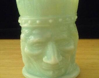 Vintage Slag Glass Green Indian Tooth Pick Holder Figurine