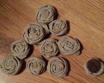 Linen Rosettes (set of 10)