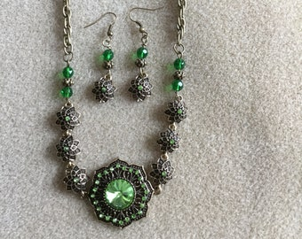 Green Flower Necklace and Earrings