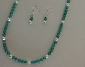 GENUINE TUrquoise and FReshwater Pearl Necklace and Earrings