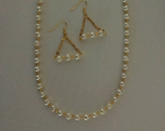 Genuine Freshwater Pearl Necklace and Earrings