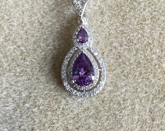 Crystal Amethyst and Rhinestone Necklace