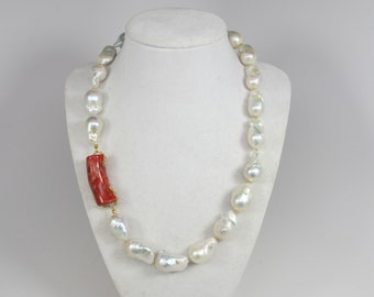 Sale! was 160! Natural Large Nucleated Baroque Pearl Necklace AA Grade, Genuine Huge White Baroque Pearl Necklace Statement necklace,