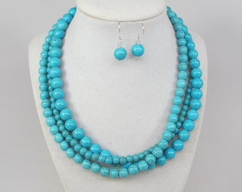 ca2ac5f525771b Chunky turquoise necklace, multi strand statement necklace, statement turquoise  jewelry,big turquoise stone beads,,matching earrings bonus