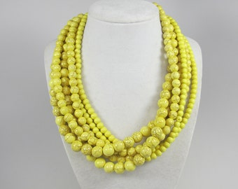 Chunky yellow  turquoise necklace,multi strand yellow statement necklace stone necklace big yellow turquoise beads,yellow  statement jewelry