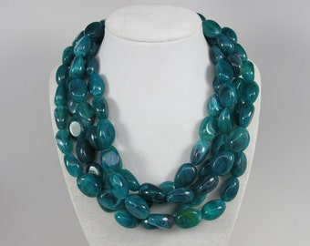 Chunky emerald green   necklace,multi strand statement green necklace, beaded necklace, big emerald green beads, green statement jewelry