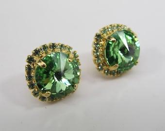 Gorgeous Peridot  Halo Earrings,Stud earrings August Birthstone Jewelry, Peridot Earrings, Halo Earrings, Birthstone Jewelry