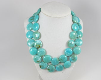 fd93d0d425b647 Chunky turquoise necklace, multi strand statement necklace, big turquoise  stone beads,turquoise statement jewelry,