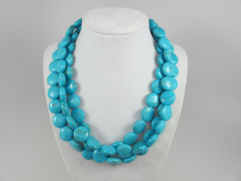 multi strand statement necklace bonus earrings big turquoise  stone beads,turquoise statement jewelry Chunky statement turquoise necklace