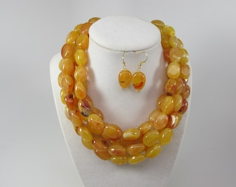 Chunky gold yellow amber necklace, multi strand statement yellow necklace, beaded yellow necklace, big gold beads, amber statement jewelry