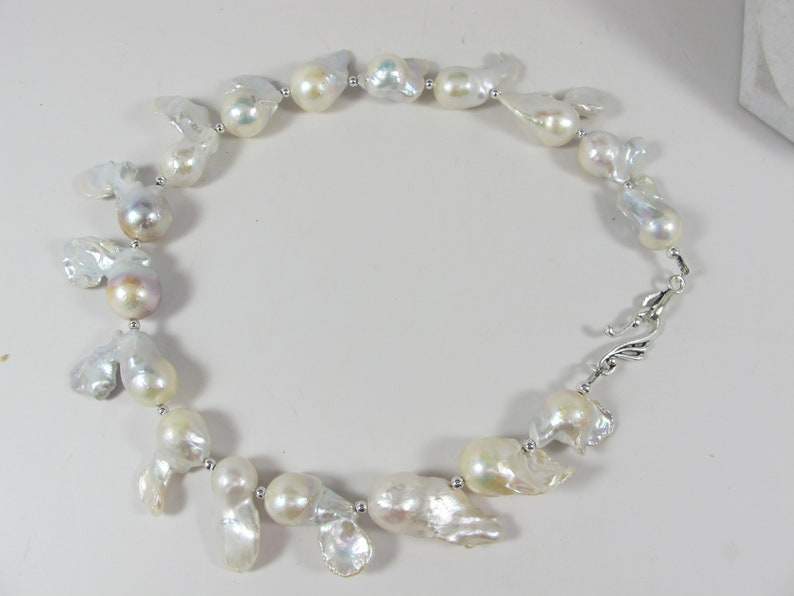 950793294b8c2 White Baroque pearl necklace, Natural Large Nucleated Baroque Pearl  Necklace Genuine Huge White Baroque Pearl Necklace Statement necklace,