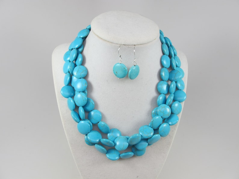 big turquoise  stone beads,turquoise statement jewelry Chunky statement turquoise necklace multi strand statement necklace bonus earrings