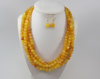 Chunky gold yellow amber  necklace,multi strand statement yellow necklace, beaded yellow necklace, big gold  beads, amber statement jewelry
