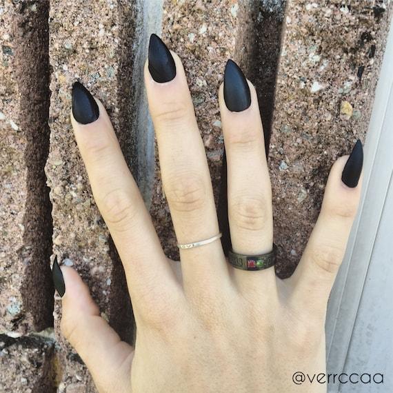 Matte Black Stiletto Nails Full Set   Etsy