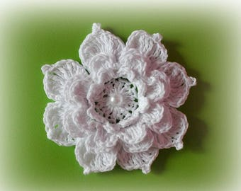Big flower Crochet flowers appliques white flower craft supplies scrapbooking Applique wedding decorations