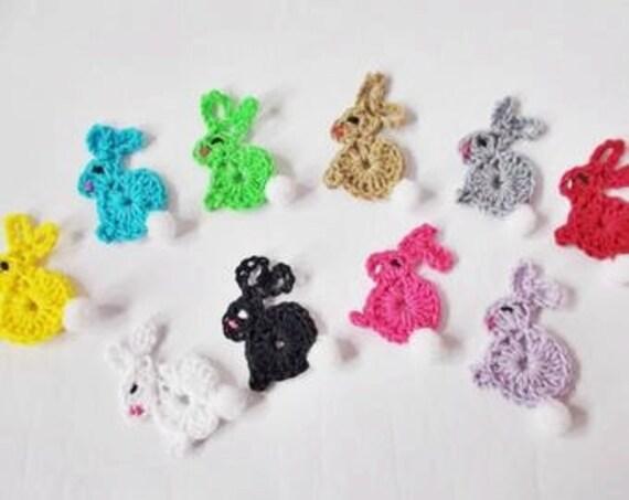 Blue Applique Pack of 4 Handmade Crochet Easter Bunny//Rabbit Embellishment