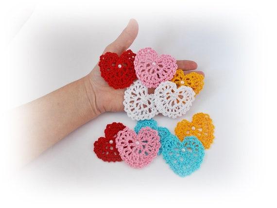 Crochet applique crochet heart motif heart craft supplies etsy